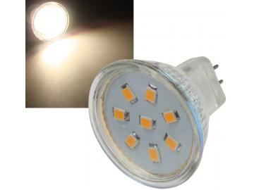 LED Strahler MR11, 8x 2835 SMD LEDs 12V, 2W, 140 Lumen, 3000k / warmweiß