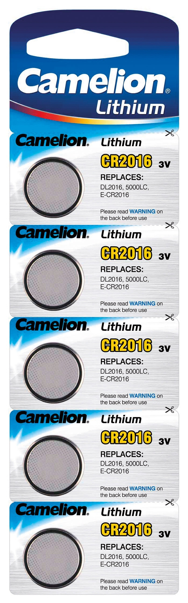Lithium Knopfzelle CAMELION CR2016 3V, 12x1,5mm, 5er-Blister