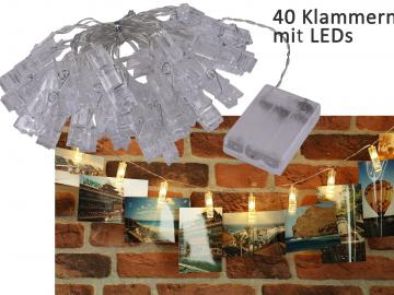 LED Lichterkette mit 40 Foto-Clips warmweiß, transp. Kabel, Batteriebetrieb